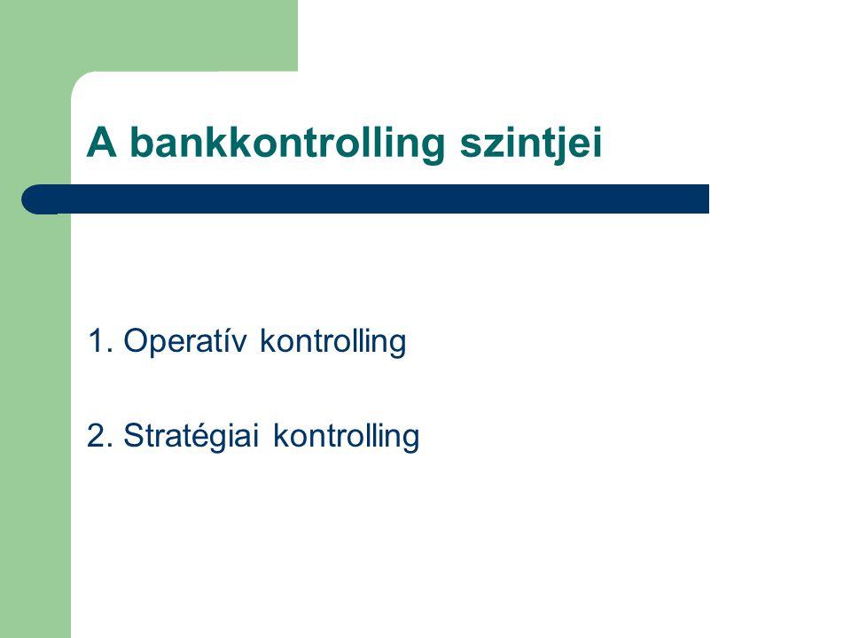 A bankkontrolling szintjei 1. Operatív kontrolling 2. Stratégiai kontrolling