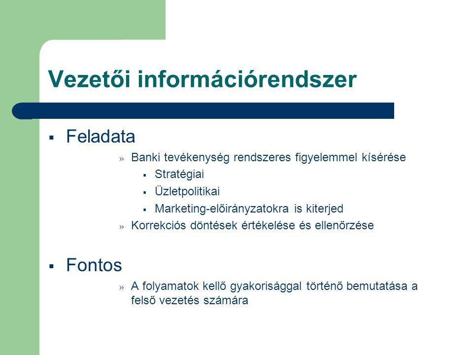 Vezetői információrendszer  Feladata » Banki tevékenység rendszeres figyelemmel kísérése  Stratégiai  Üzletpolitikai  Marketing-előirányzatokra is