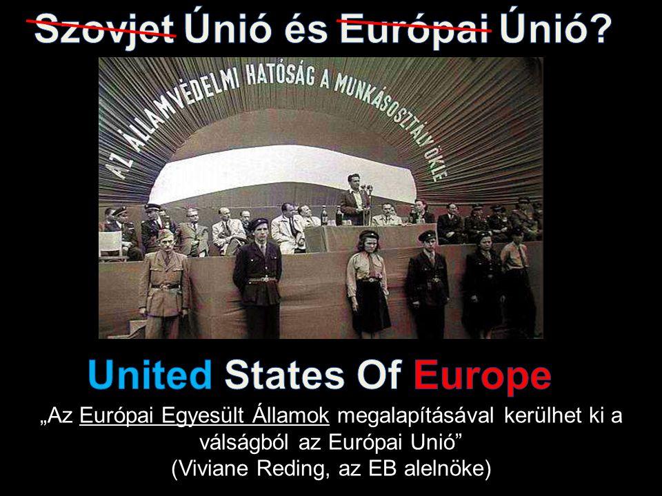 """""""Az Európai Egyesült Államok megalapításával kerülhet ki a válságból az Európai Unió (Viviane Reding, az EB alelnöke)"""