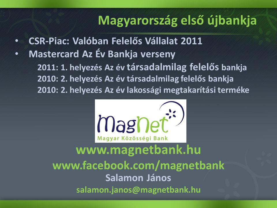 • CSR-Piac: Valóban Felelős Vállalat 2011 • Mastercard Az Év Bankja verseny 2011: 1.