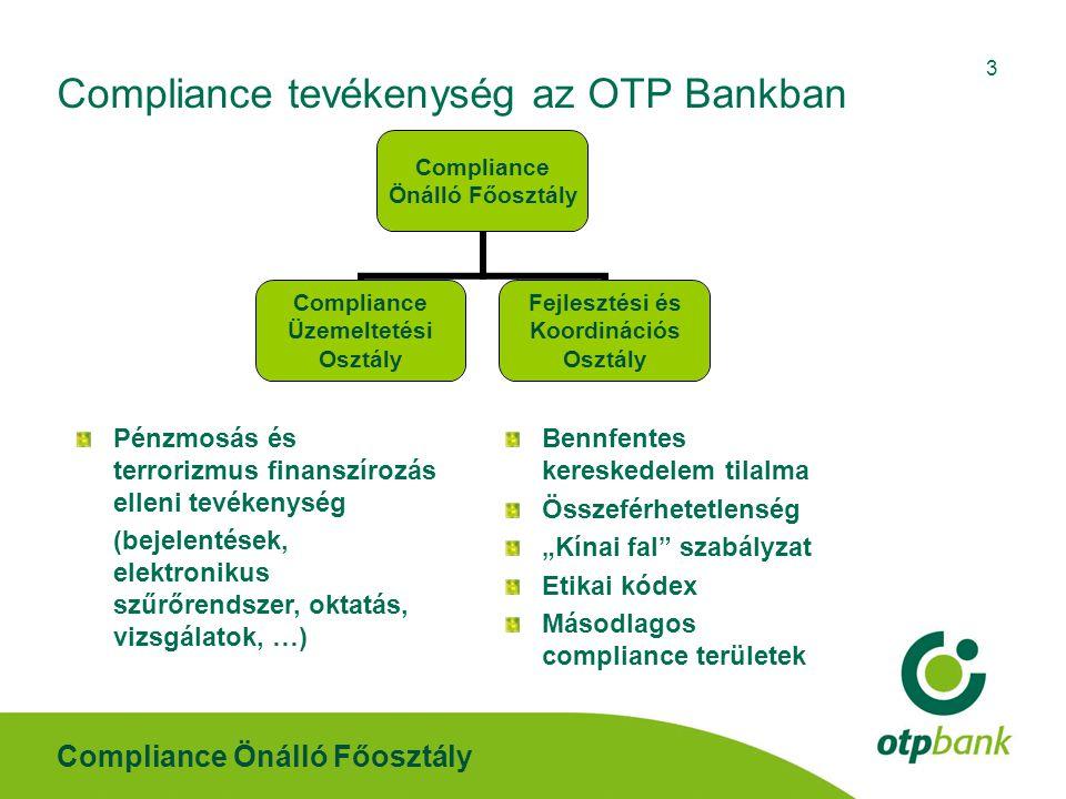 Compliance Önálló Főosztály 3 Compliance tevékenység az OTP Bankban Pénzmosás és terrorizmus finanszírozás elleni tevékenység (bejelentések, elektroni