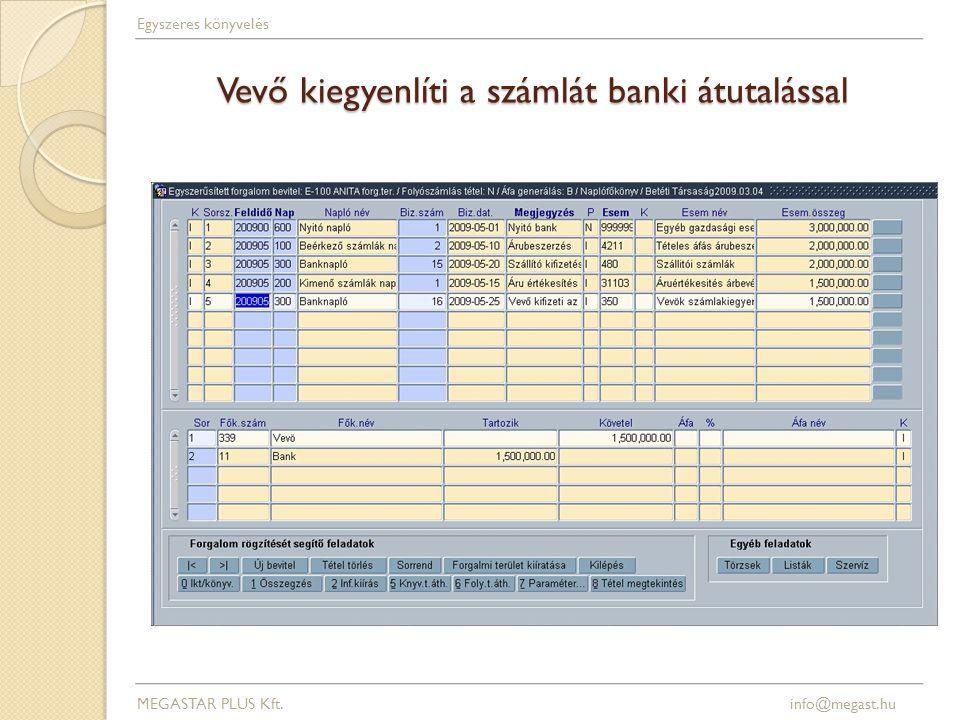 Vevő kiegyenlíti a számlát banki átutalással MEGASTAR PLUS Kft. info@megast.hu Egyszeres könyvelés