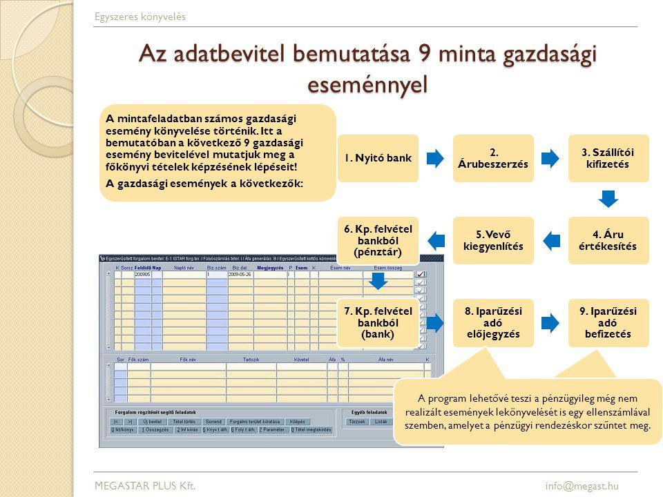 Az adatbevitel bemutatása 9 minta gazdasági eseménnyel 1.