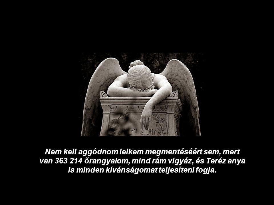 Nem kell aggódnom lelkem megmentéséért sem, mert van 363 214 őrangyalom, mind rám vigyáz, és Teréz anya is minden kívánságomat teljesíteni fogja.