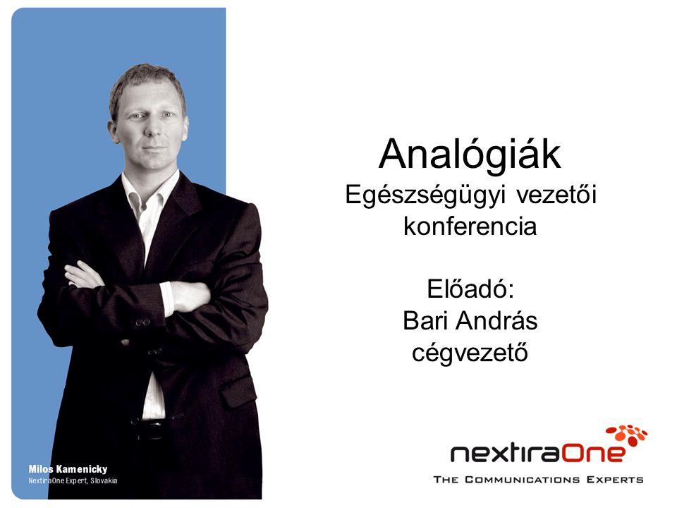 Analógiák Egészségügyi vezetői konferencia Előadó: Bari András cégvezető