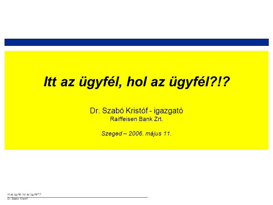 Itt az ügyfél, hol az ügyfél?!? Dr. Szabó Kristóf Figyeld a kezemet…!