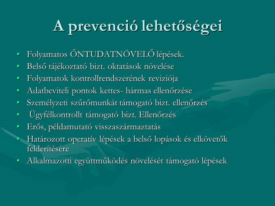 A prevenció lehetőségei •Folyamatos ŐNTUDATNÖVELŐ lépések. •Belső tájékoztató bizt. oktatások növelése •Folyamatok kontrollrendszerének reviziója •Ada