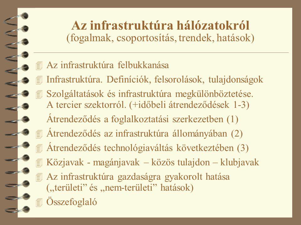 Az infrastruktúra hálózatokról (fogalmak, csoportosítás, trendek, hatások) 4 Az infrastruktúra felbukkanása 4 Infrastruktúra.