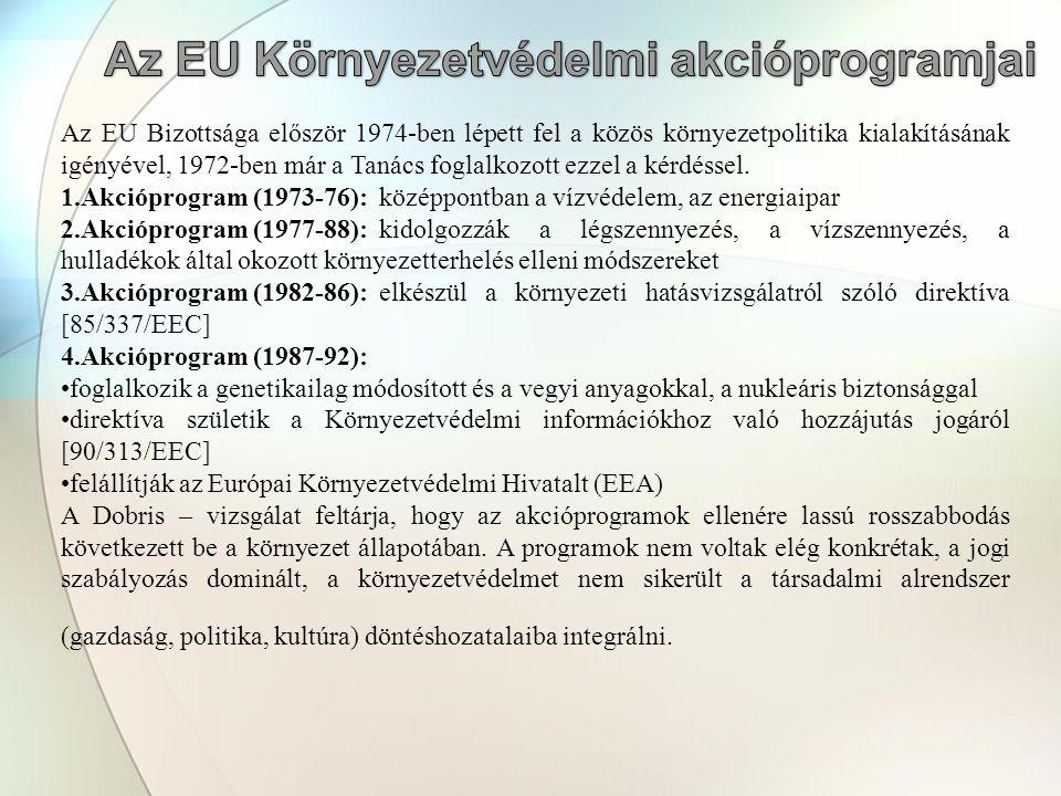 Az EU Bizottsága először 1974-ben lépett fel a közös környezetpolitika kialakításának igényével, 1972-ben már a Tanács foglalkozott ezzel a kérdéssel.