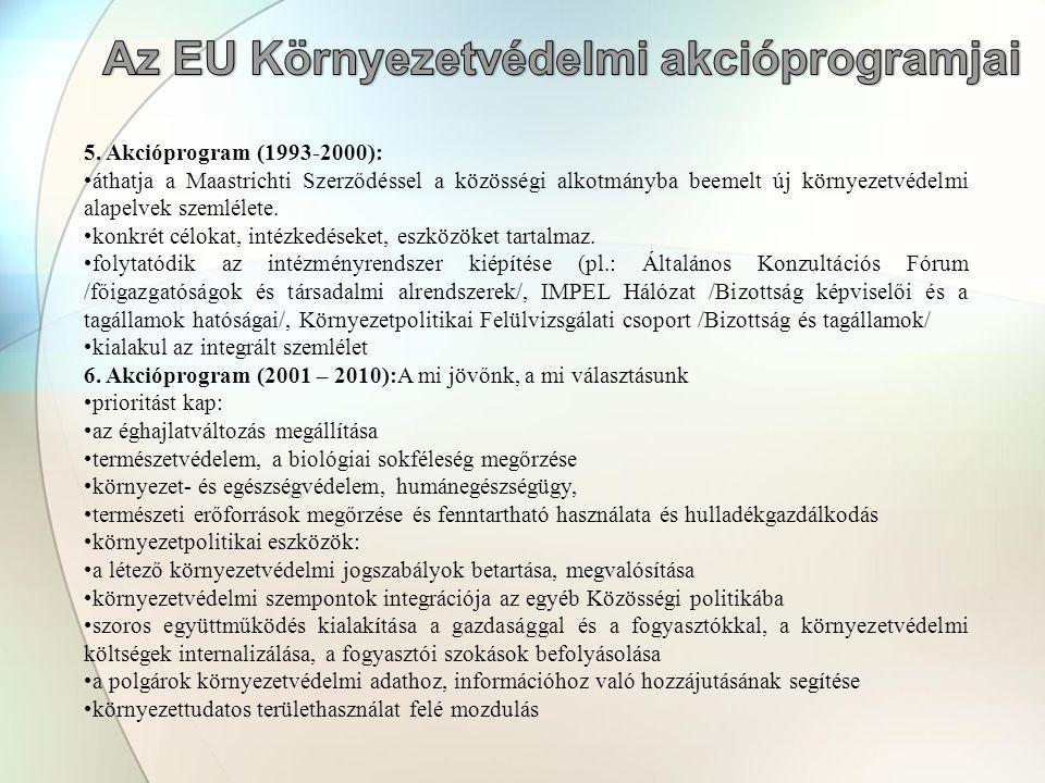 5. Akcióprogram (1993-2000): •áthatja a Maastrichti Szerződéssel a közösségi alkotmányba beemelt új környezetvédelmi alapelvek szemlélete. •konkrét cé
