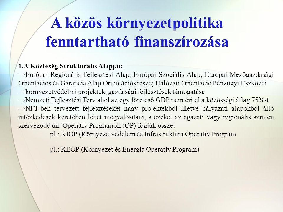 1.A Közösség Strukturális Alapjai: →Európai Regionális Fejlesztési Alap; Európai Szociális Alap; Európai Mezőgazdasági Orientációs és Garancia Alap Orientációs része; Hálózati Orientáció Pénzügyi Eszközei →környezetvédelmi projektek, gazdasági fejlesztések támogatása →Nemzeti Fejlesztési Terv ahol az egy főre eső GDP nem éri el a közösségi átlag 75%-t →NFT-ben tervezett fejlesztéseket nagy projektekből illetve pályázati alapokból álló intézkedések keretében lehet megvalósítani, s ezeket az ágazati vagy regionális szinten szerveződő un.