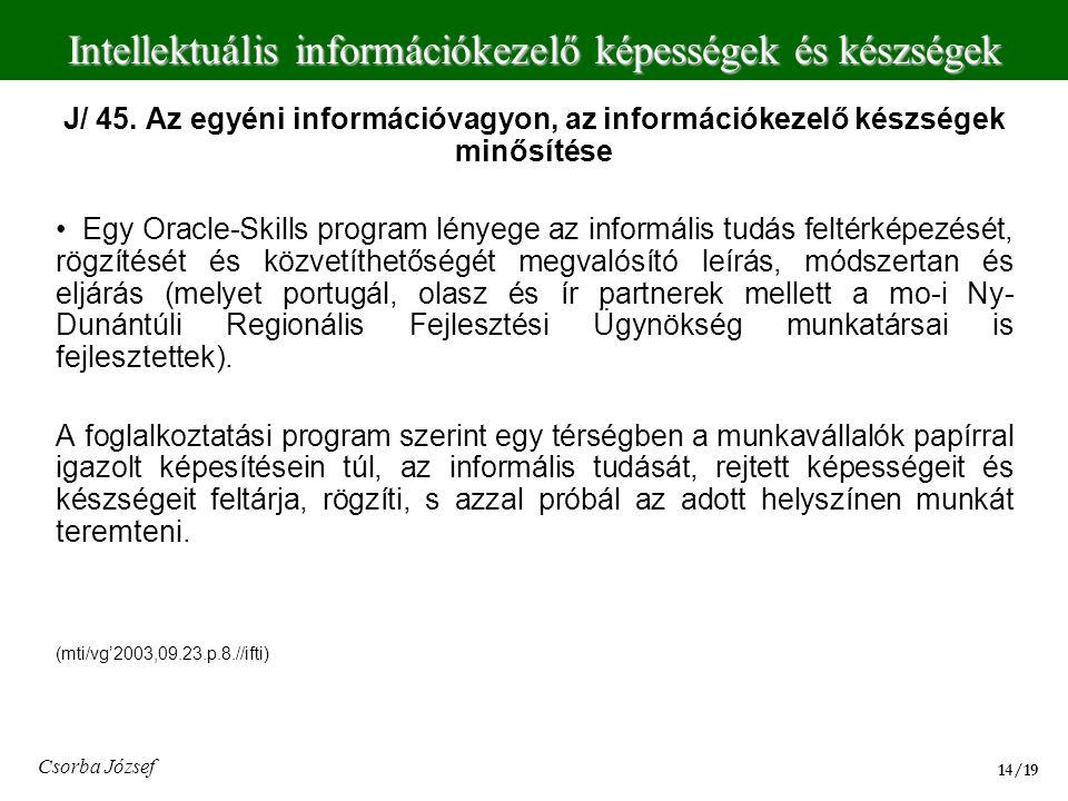 Intellektuális információkezelő képességek és készségek 14/19 Csorba József J/ 45. Az egyéni információvagyon, az információkezelő készségek minősítés