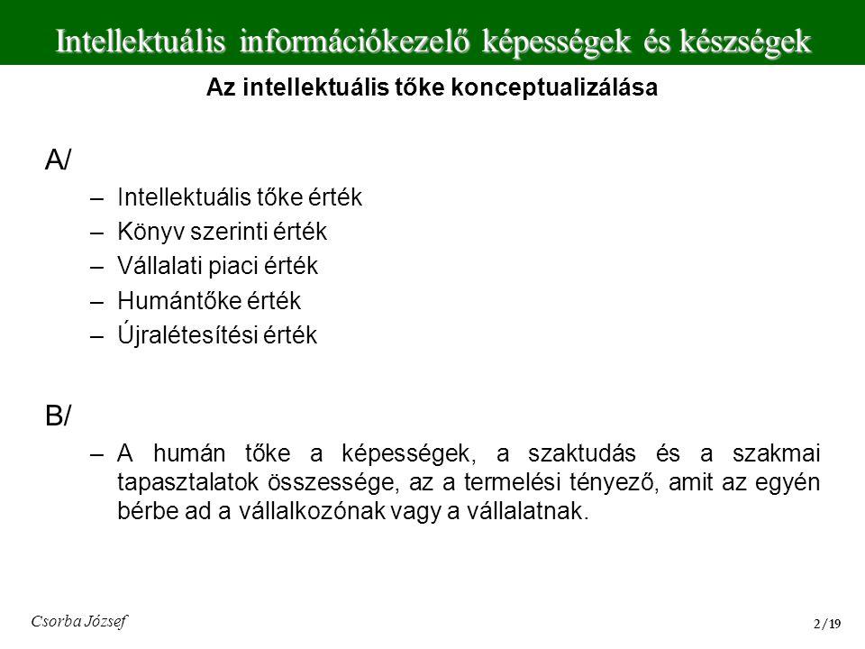 Intellektuális információkezelő képességek és készségek 13/19 Csorba József I/ 89.