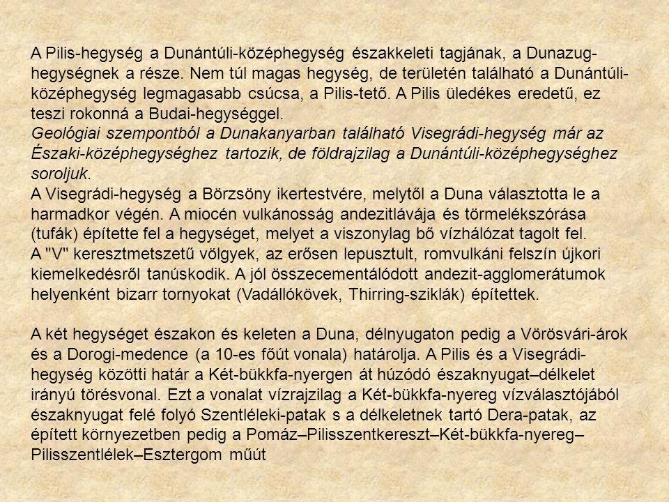 A Pilis-hegység a Dunántúli-középhegység északkeleti tagjának, a Dunazug- hegységnek a része. Nem túl magas hegység, de területén található a Dunántúl