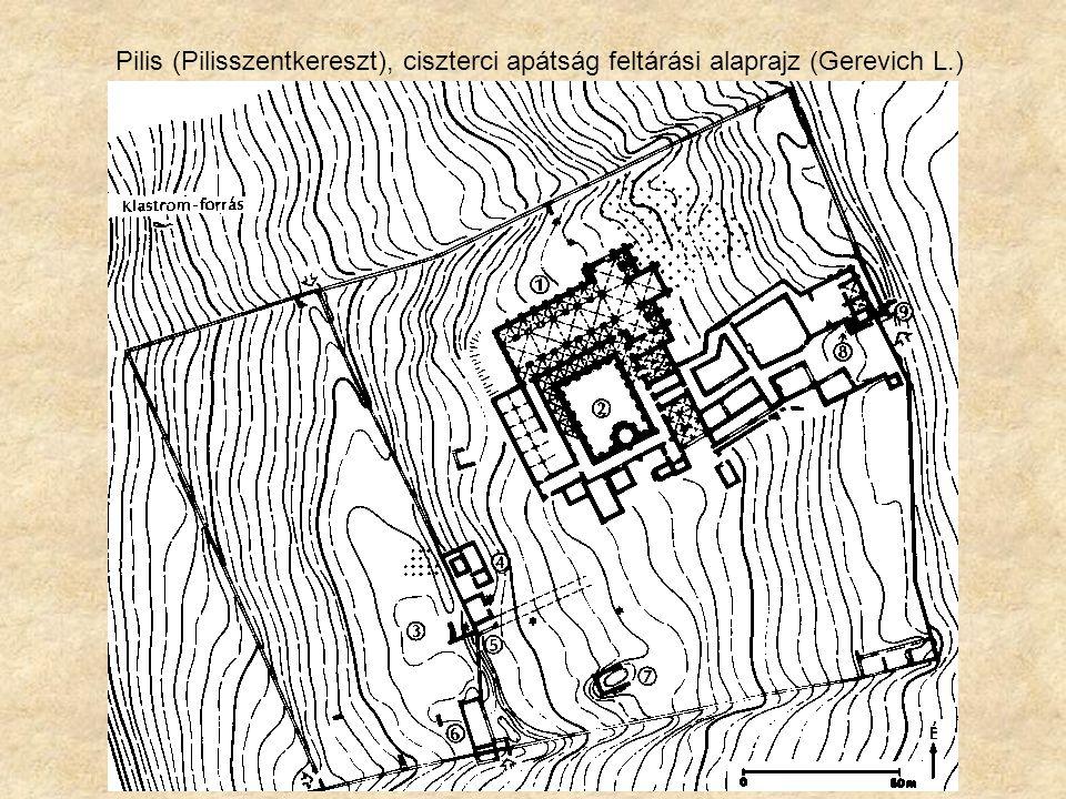 Pilis (Pilisszentkereszt), ciszterci apátság feltárási alaprajz (Gerevich L.)