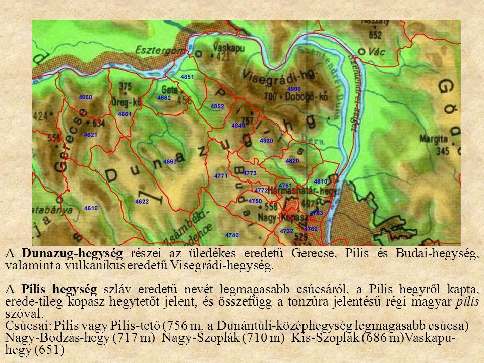 A Dunazug-hegység részei az üledékes eredetű Gerecse, Pilis és Budai-hegység, valamint a vulkanikus eredetű Visegrádi-hegység. A Pilis hegység szláv e