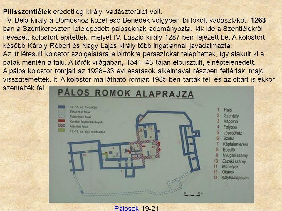 Pilisszentlélek eredetileg királyi vadászterület volt. IV. Béla király a Dömöshöz közel eső Benedek-völgyben birtokolt vadászlakot. 1263- ban a Szentk