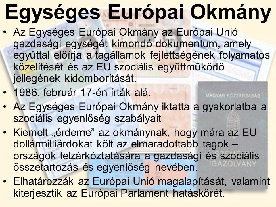 Egységes Európai Okmány •Az Egységes Európai Okmány az Európai Unió gazdasági egységét kimondó dokumentum, amely egyúttal előírja a tagállamok fejlett