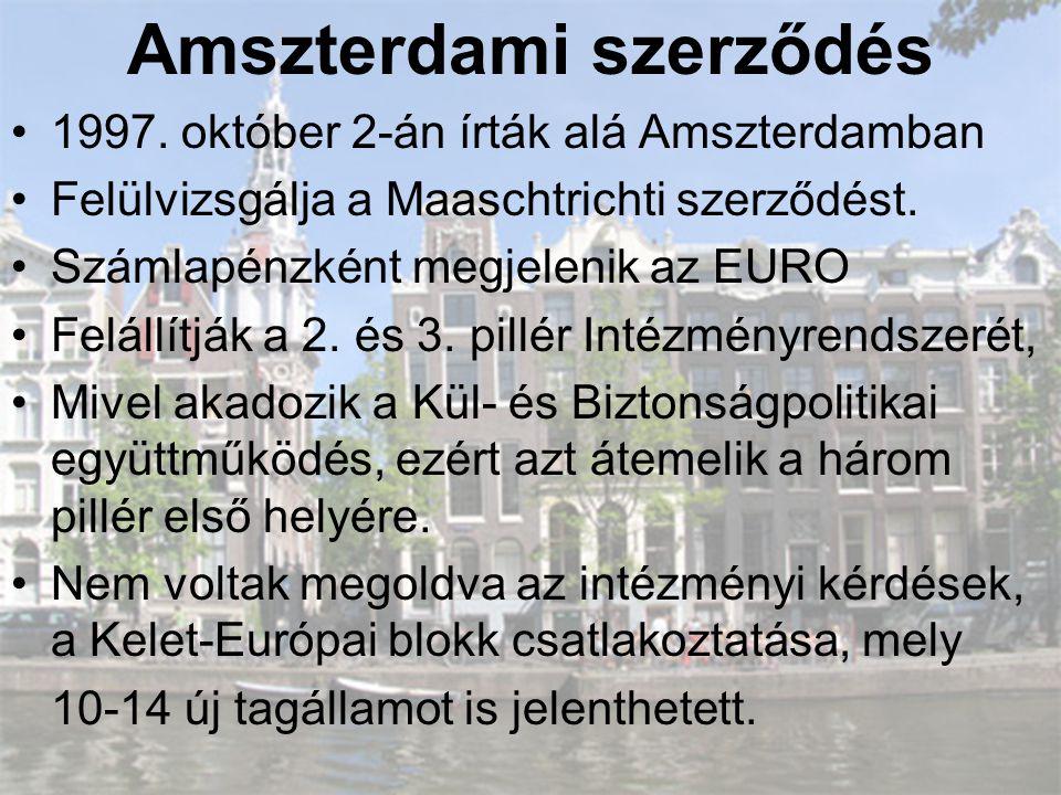 Amszterdami szerződés •1997. október 2-án írták alá Amszterdamban •Felülvizsgálja a Maaschtrichti szerződést. •Számlapénzként megjelenik az EURO •Felá