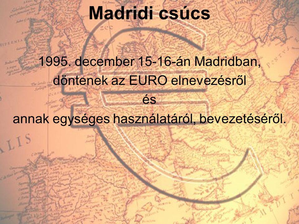 Madridi csúcs 1995. december 15-16-án Madridban, döntenek az EURO elnevezésről és annak egységes használatáról, bevezetéséről.
