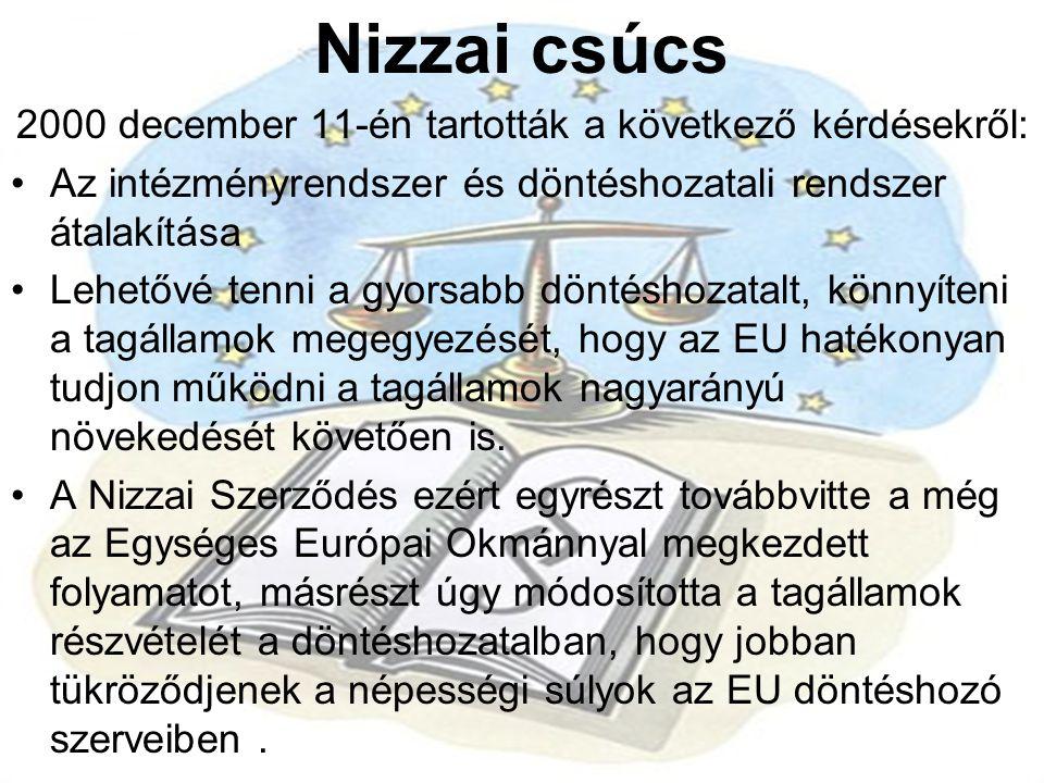 Nizzai csúcs 2000 december 11-én tartották a következő kérdésekről: •Az intézményrendszer és döntéshozatali rendszer átalakítása •Lehetővé tenni a gyo