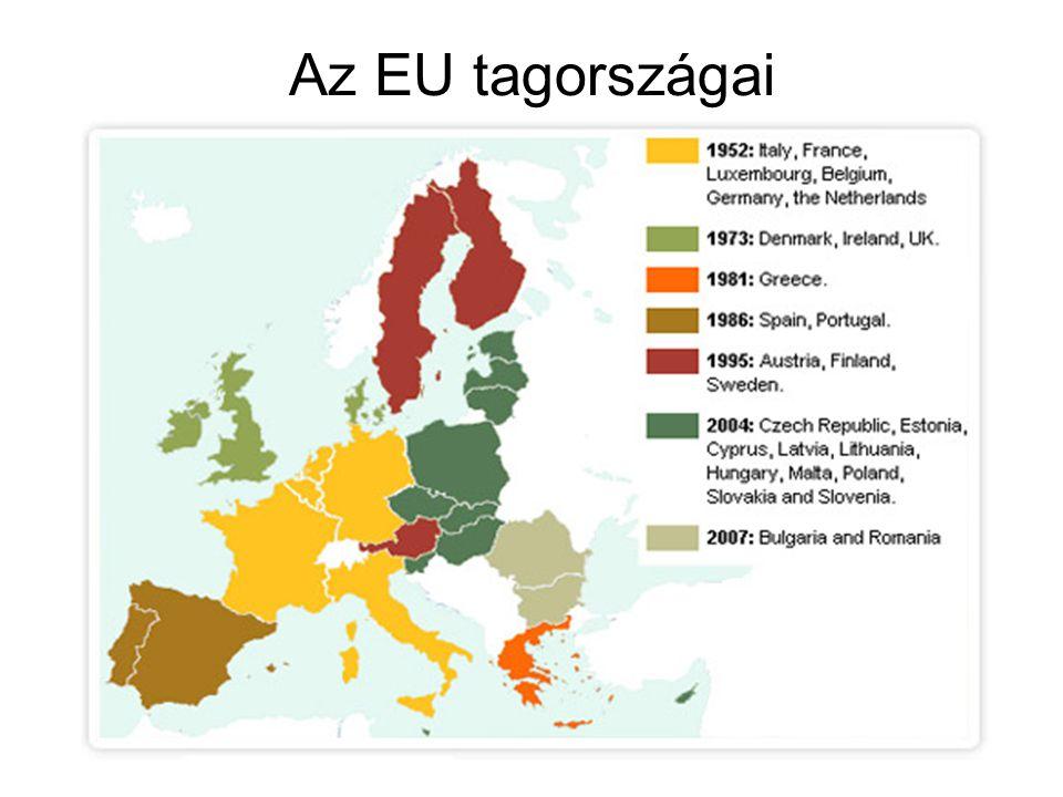 Fontosabb évszámok az Európai Unió létében •1941- a Párizsi szerződésig1941- a Párizsi szerződésig •1951 – Párizsi szerződésPárizsi szerződés •1956 – Római szerződésRómai szerződés •1973 – Hatokból-kilencekHatokból-kilencek •1979 – Európai ParlamentEurópai Parlament •1981 – kilencekből – tizekkilencekből – tizek •1985 – Schengeni egyezménySchengeni egyezmény •1986 – Tizekből – tizenkettekTizekből – tizenkettek •1987 – Egységes Európai OkmányEgységes Európai Okmány •1990 – AGENDA 2000 •1993 – Maastrichti szerződésMaastrichti szerződés •1995 – Tizenkettekből – tizenötökTizenkettekből – tizenötök •1995 – Amszterdami szerződésAmszterdami szerződés •1995 – Madridi csúcsMadridi csúcs •2000 – Nizzai csúcsNizzai csúcs •2001 – Londoni csúcs – Európai KonventLondoni csúcs – Európai Konvent •2002 – Koppenhágai csúcsKoppenhágai csúcs •2003 – Athéni CsúcsAthéni Csúcs •2004 – Tizenötökből - huszonötökTizenötökből - huszonötök