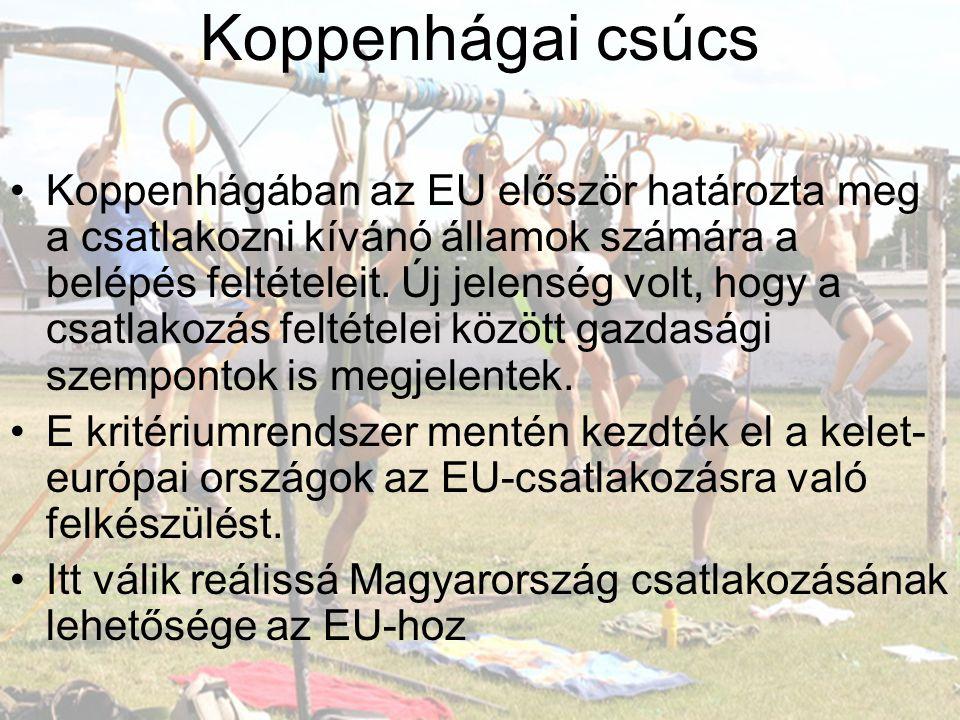 Koppenhágai csúcs •Koppenhágában az EU először határozta meg a csatlakozni kívánó államok számára a belépés feltételeit. Új jelenség volt, hogy a csat