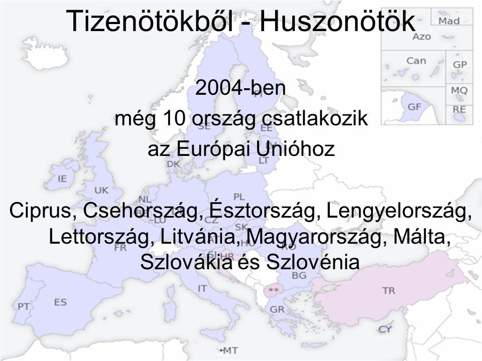 Tizenötökből - Huszonötök 2004-ben még 10 ország csatlakozik az Európai Unióhoz Ciprus, Csehország, Észtország, Lengyelország, Lettország, Litvánia, M