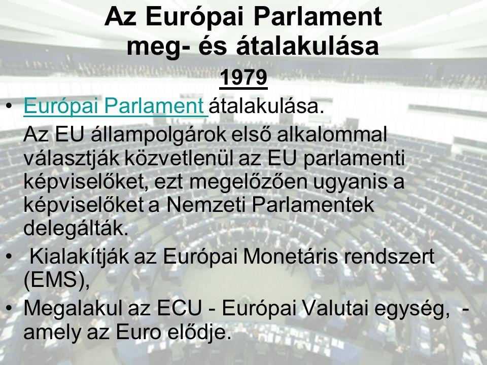 Az Európai Parlament meg- és átalakulása 1979 •Európai Parlament átalakulása.Európai Parlament Az EU állampolgárok első alkalommal választják közvetlenül az EU parlamenti képviselőket, ezt megelőzően ugyanis a képviselőket a Nemzeti Parlamentek delegálták.