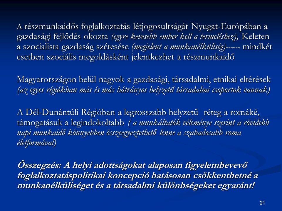 21 A részmunkaidős foglalkoztatás létjogosultságát Nyugat-Európában a gazdasági fejlődés okozta (egyre kevesebb ember kell a termeléshez), Keleten a szocialista gazdaság szétesése (megjelent a munkanélküliség)------ mindkét esetben szociális megoldásként jelentkezhet a részmunkaidő Magyarországon belül nagyok a gazdasági, társadalmi, etnikai eltérések (az egyes régiókban más és más hátrányos helyzetű társadalmi csoportok vannak) A Dél-Dunántúli Régióban a legrosszabb helyzetű réteg a romáké, támogatásuk a legindokoltabb ( a munkáltatók véleménye szerint a rövidebb napi munkaidő könnyebben összeegyeztethető lenne a szabadosabb roma életformával) Összegzés: A helyi adottságokat alaposan figyelembevevő foglalkoztatáspolitikai koncepció hatásosan csökkenthetné a munkanélküliséget és a társadalmi különbségeket egyaránt!