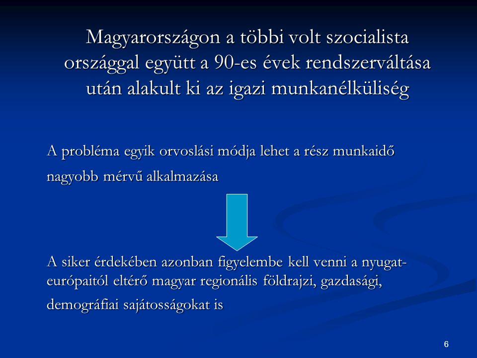 6 Magyarországon a többi volt szocialista országgal együtt a 90-es évek rendszerváltása után alakult ki az igazi munkanélküliség A probléma egyik orvoslási módja lehet a rész munkaidő nagyobb mérvű alkalmazása A siker érdekében azonban figyelembe kell venni a nyugat- európaitól eltérő magyar regionális földrajzi, gazdasági, demográfiai sajátosságokat is