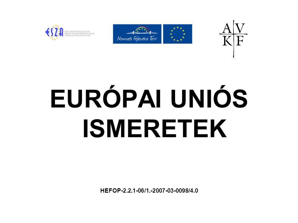 A TAGSÁG FELTÉTELEI A koppenhágai kritériumok:  Stabil demokratikus intézményi háttér  Demokratikus jogrendszer  Emberi jogok tiszteletben tartása  Kisebbségek védelme  Versenyképes piacgazdaság az egységes piacon  Az EU működésének & alapelveinek ismerete; a közösségi jog átvétele (acquis communitare)