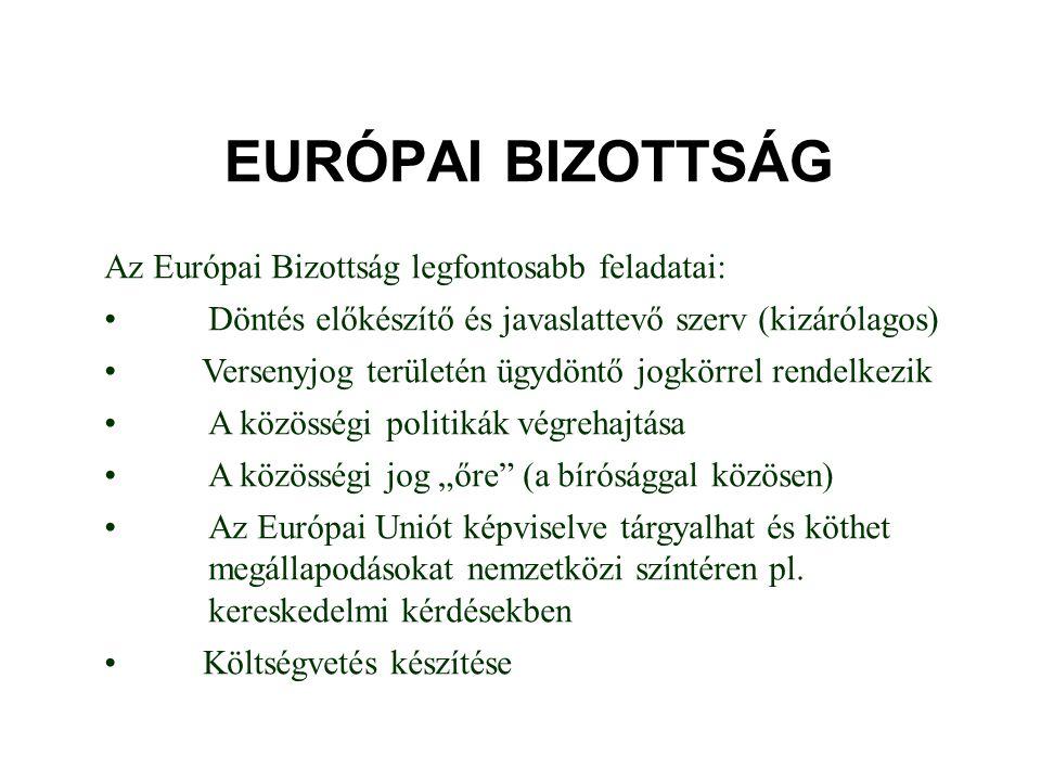 EURÓPAI BIZOTTSÁG Az Európai Bizottság legfontosabb feladatai: • Döntés előkészítő és javaslattevő szerv (kizárólagos) • Versenyjog területén ügydöntő