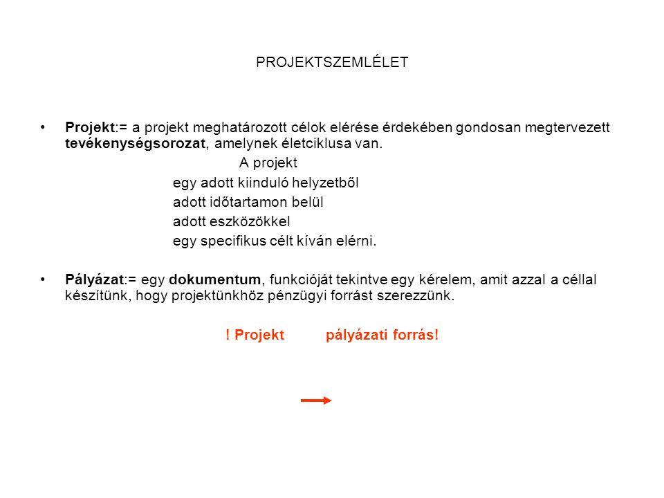 PROJEKTSZEMLÉLET •Projekt:= a projekt meghatározott célok elérése érdekében gondosan megtervezett tevékenységsorozat, amelynek életciklusa van. A proj