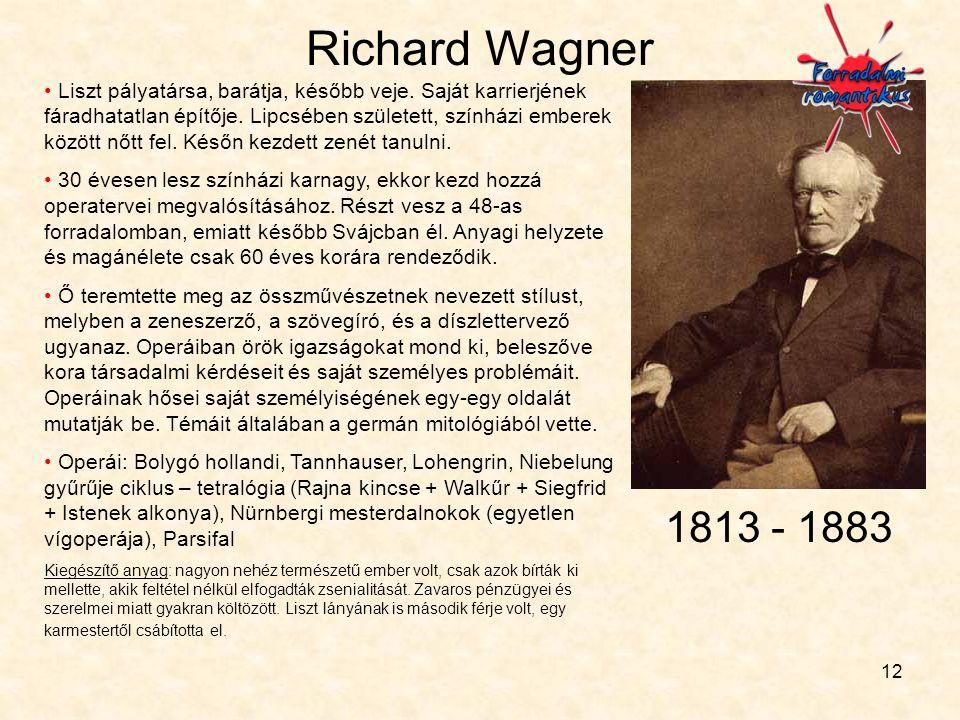 12 Richard Wagner • Liszt pályatársa, barátja, később veje. Saját karrierjének fáradhatatlan építője. Lipcsében született, színházi emberek között nőt