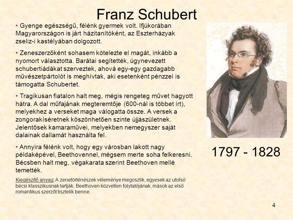 4 Franz Schubert • Gyenge egészségű, félénk gyermek volt. Ifjúkorában Magyarországon is járt házitanítóként, az Eszterházyak zseliz-i kastélyában dolg
