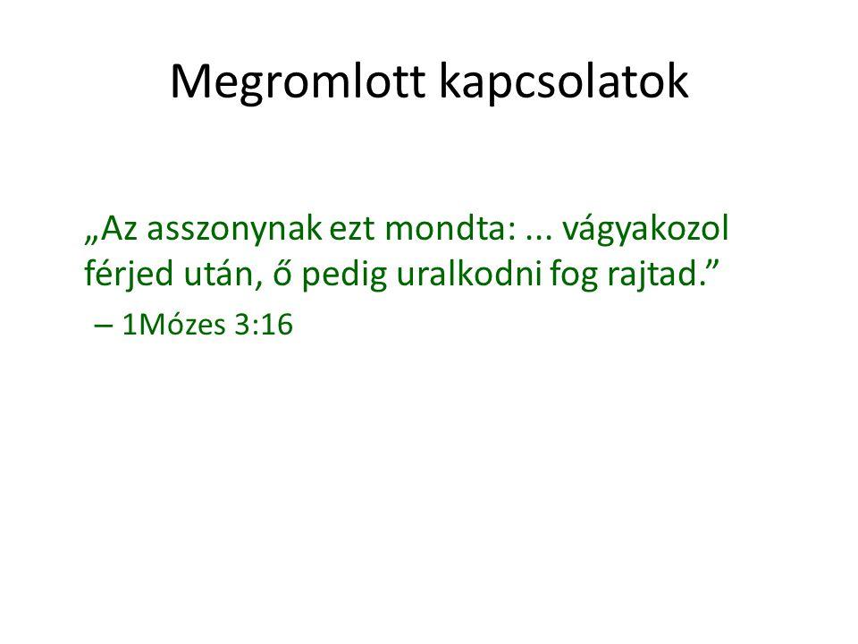 """Megromlott kapcsolatok """"Az asszonynak ezt mondta:... vágyakozol férjed után, ő pedig uralkodni fog rajtad."""" – 1Mózes 3:16"""