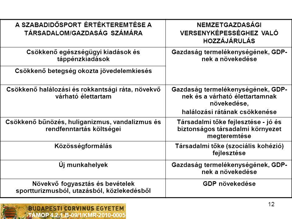 TÁMOP 4.2.1.B-09/1/KMR-2010-0005 12 A SZABADIDŐSPORT ÉRTÉKTEREMTÉSE A TÁRSADALOM/GAZDASÁG SZÁMÁRA NEMZETGAZDASÁGI VERSENYKÉPESSÉGHEZ VALÓ HOZZÁJÁRULÁS Csökkenő egészségügyi kiadások és táppénzkiadások Gazdaság termelékenységének, GDP- nek a növekedése Csökkenő betegség okozta jövedelemkiesés Csökkenő halálozási és rokkantsági ráta, növekvő várható élettartam Gazdaság termelékenységének, GDP- nek és a várható élettartamnak növekedése, halálozási rátának csökkenése Csökkenő bűnözés, huliganizmus, vandalizmus és rendfenntartás költségei Társadalmi tőke fejlesztése - jó és biztonságos társadalmi környezet megteremtése KözösségformálásTársadalmi tőke (szociális kohézió) fejlesztése Új munkahelyekGazdaság termelékenységének, GDP- nek a növekedése Növekvő fogyasztás és bevételek sportturizmusból, utazásból, közlekedésből GDP növekedése