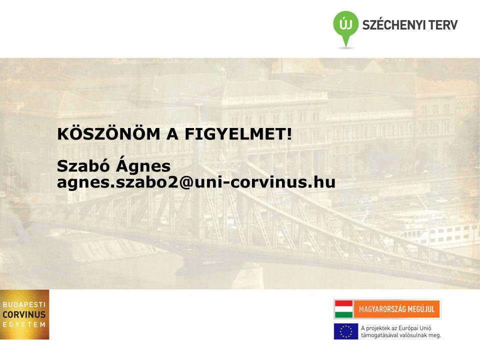 TÁMOP 4.2.1.B-09/1/KMR-2010-0005 18 Budapesti Corvinus Egyetem Prezentáció cím egy vagy két sor, balrazárva KÖSZÖNÖM A FIGYELMET.