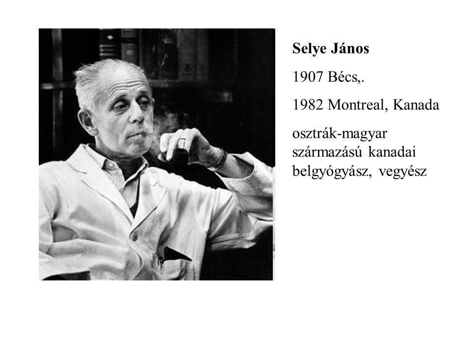 Selye János 1907 Bécs,. 1982 Montreal, Kanada osztrák-magyar származású kanadai belgyógyász, vegyész