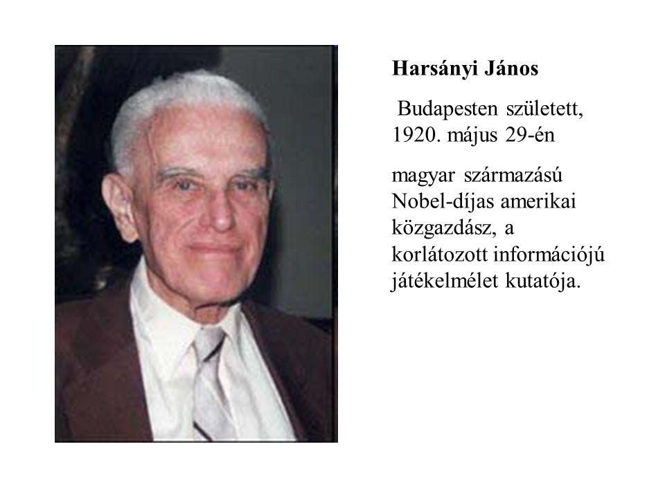 Harsányi János Budapesten született, 1920. május 29-én magyar származású Nobel-díjas amerikai közgazdász, a korlátozott információjú játékelmélet kuta
