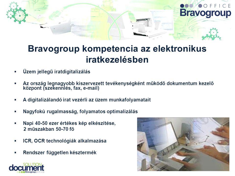 Bravogroup kompetencia az elektronikus iratkezelésben  Üzem jellegű iratdigitalizálás  Az ország legnagyobb kiszervezett tevékenységként működő doku