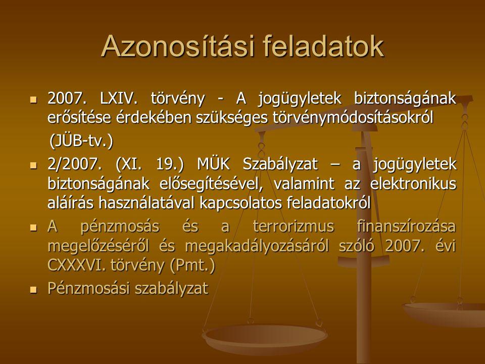 Azonosítási feladatok  2007. LXIV. törvény - A jogügyletek biztonságának erősítése érdekében szükséges törvénymódosításokról (JÜB-tv.) (JÜB-tv.)  2/
