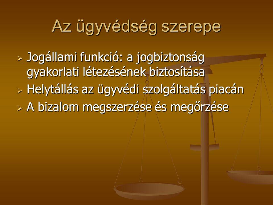 Az ügyvédség szerepe  Jogállami funkció: a jogbiztonság gyakorlati létezésének biztosítása  Helytállás az ügyvédi szolgáltatás piacán  A bizalom megszerzése és megőrzése