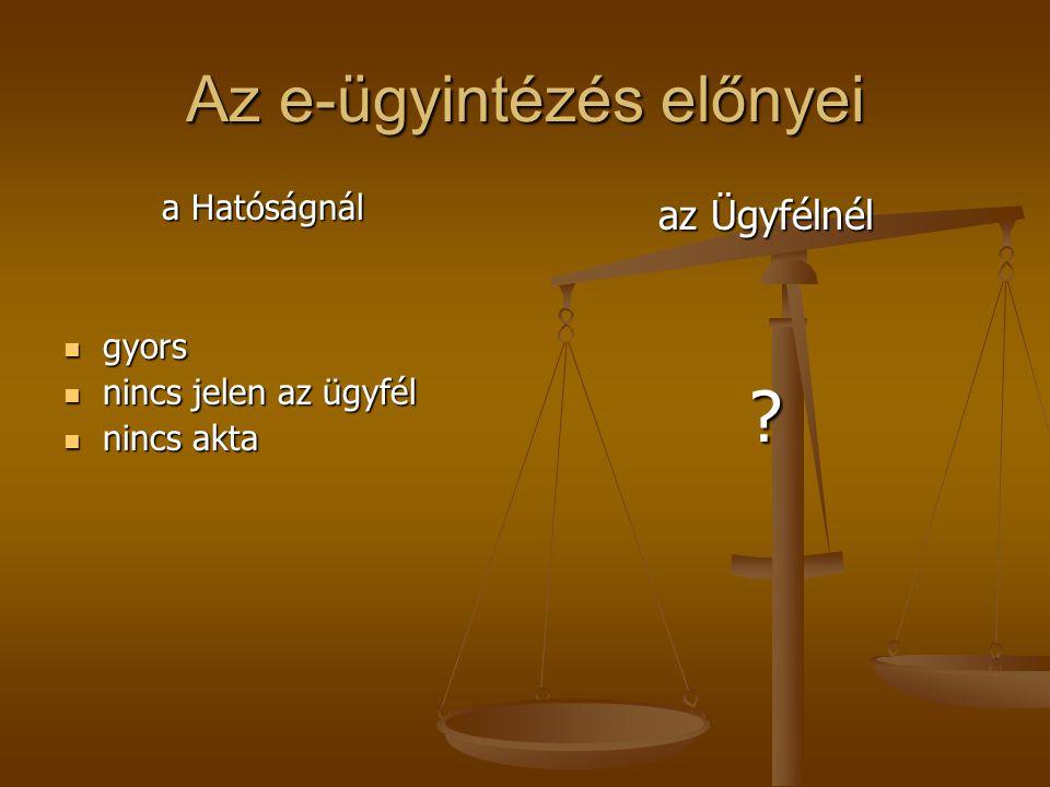 Az e-ügyintézés előnyei a Hatóságnál a Hatóságnál  gyors  nincs jelen az ügyfél  nincs akta az Ügyfélnél ?