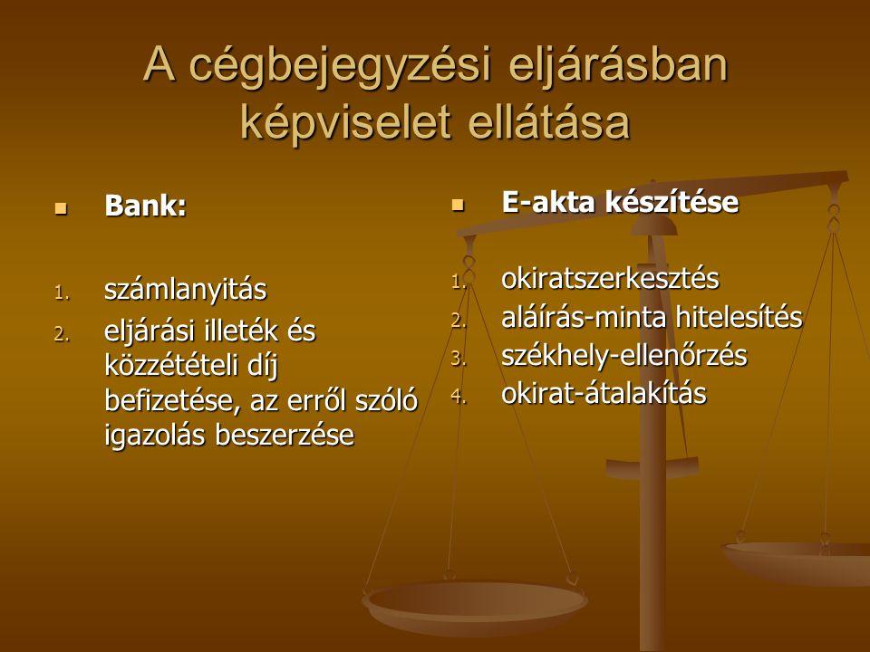 A cégbejegyzési eljárásban képviselet ellátása  Bank: 1. számlanyitás 2. eljárási illeték és közzétételi díj befizetése, az erről szóló igazolás besz