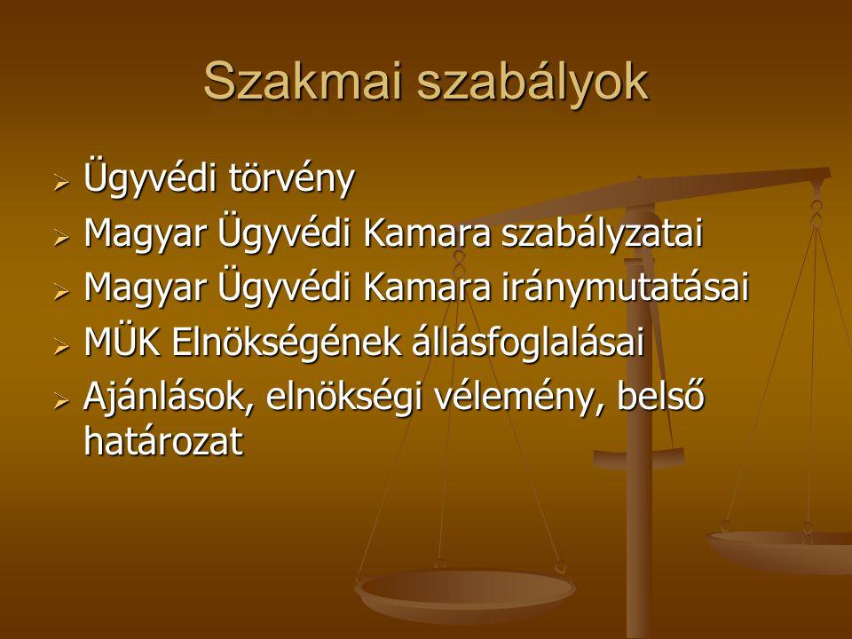 Szakmai szabályok  Ügyvédi törvény  Magyar Ügyvédi Kamara szabályzatai  Magyar Ügyvédi Kamara iránymutatásai  MÜK Elnökségének állásfoglalásai  A