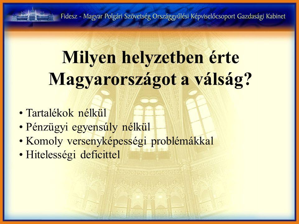 Milyen helyzetben érte Magyarországot a válság? • Tartalékok nélkül • Pénzügyi egyensúly nélkül • Komoly versenyképességi problémákkal • Hitelességi d
