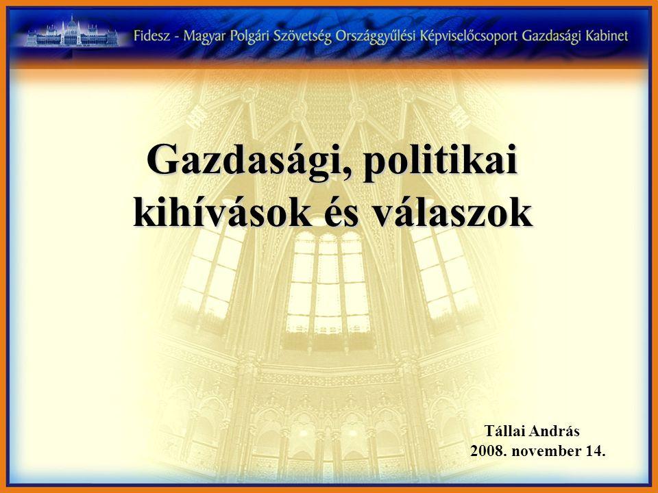 Gazdasági, politikai kihívások és válaszok Tállai András 2008. november 14.