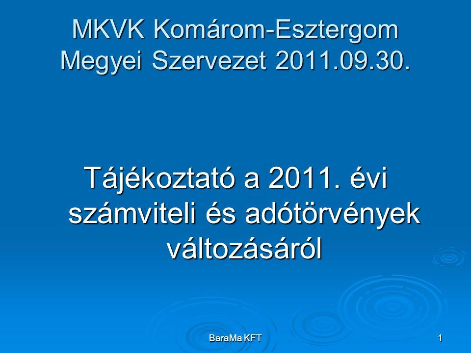 BaraMa KFT1 MKVK Komárom-Esztergom Megyei Szervezet 2011.09.30. Tájékoztató a 2011. évi számviteli és adótörvények változásáról